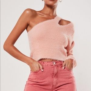 Pink Fluffy Cut Out Neck Double Strap Sweater
